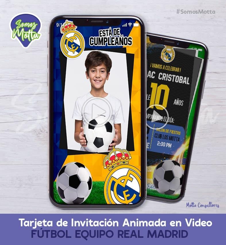 TARJETA DE INVITACIÓN DIGITAL REAL MADRID CON FOTO