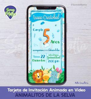 TARJETA DE INVITACIÓN ANIMADA DE ANIMALITOS JUNGLA