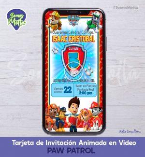 TARJETA DE INVITACIÓN ANIMADA DE PAW PATROL