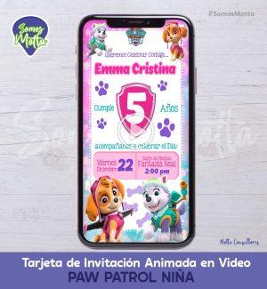 TARJETA DE INVITACIÓN ANIMADA PAW PATROL NIÑA