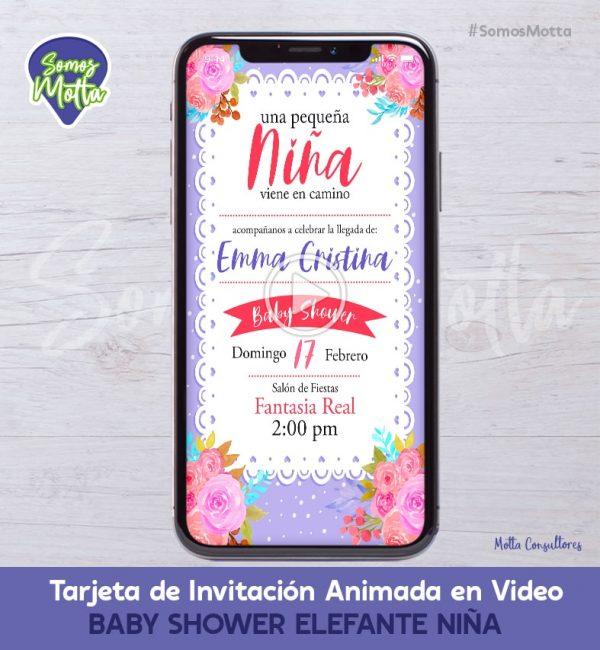 TARJETA DE INVITACIÓN DIGITAL A BABY SHOWER NIÑA