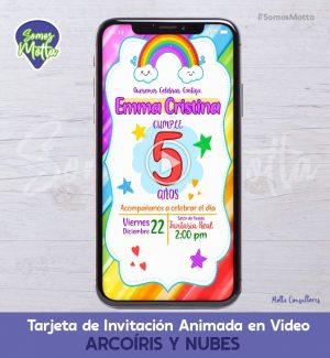 TARJETA DE INVITACIÓN DIGITAL ANIMADA DE ARCO IRIS Y NUBES