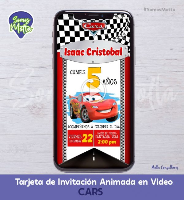 TARJETA DE INVITACIÓN ANIMADA DE CARS   CARRITOS