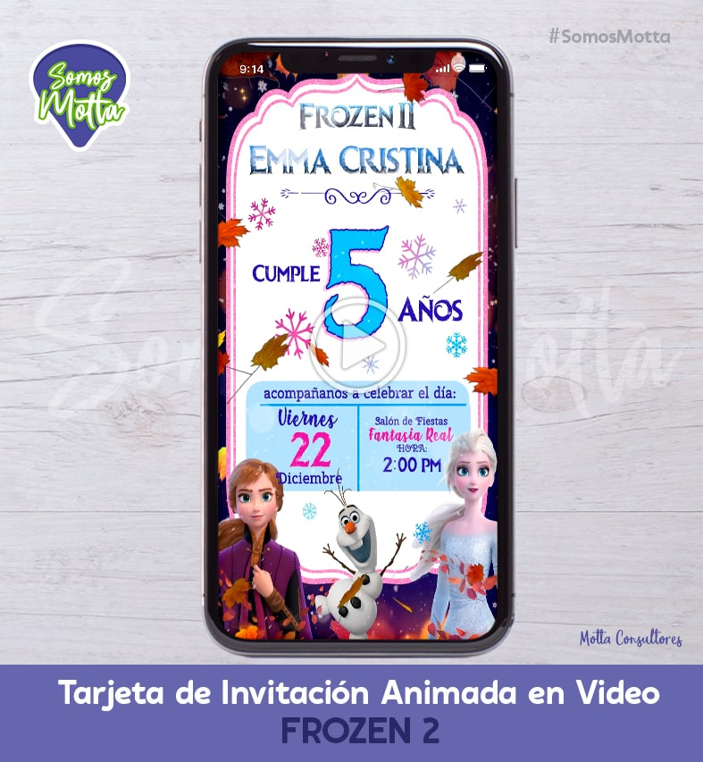 TARJETA DE INVITACIÓN ANIMADA PARA WHATSAPP DE FROZEN 2