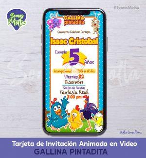 TARJETA DE INVITACIÓN DIGITAL ANIMADA GALLINA PINTADITA
