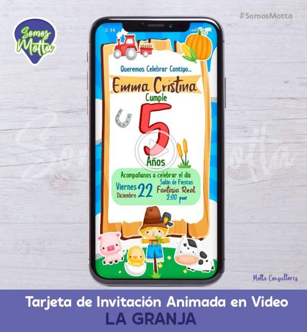 TARJETA DE INVITACIÓN DIGITAL ANIMADA DE LA GRANJA