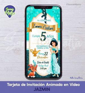 TARJETA DE INVITACIÓN DIGITAL ANIMADA DE LA PRINCESA JAZMÍN