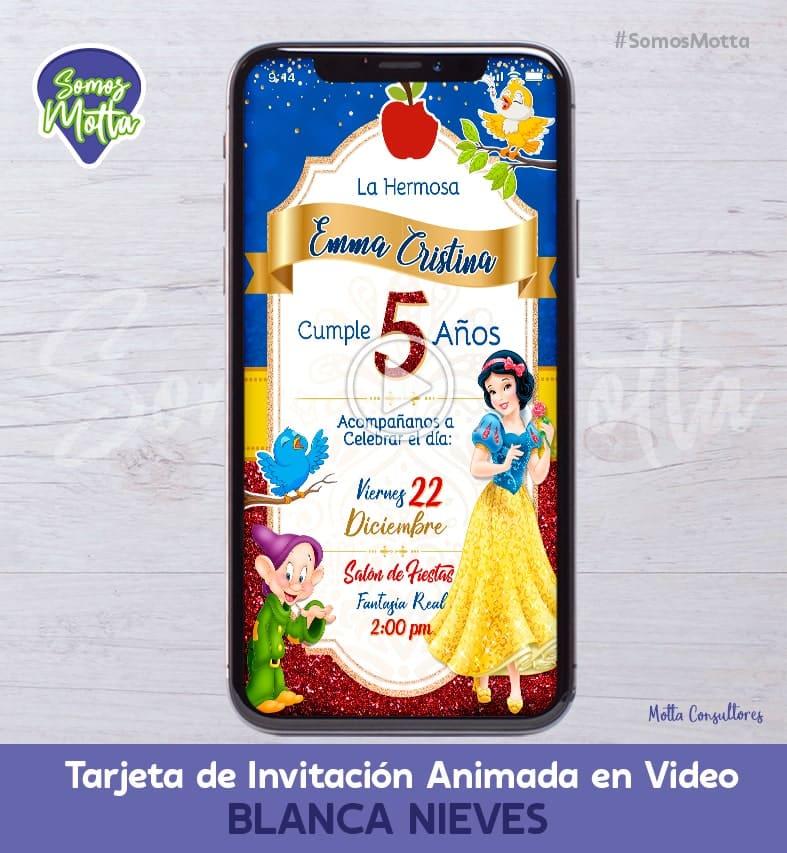 TARJETA DE INVITACIÓN DIGITAL ANIMADA PRINCESA BLANCA NIEVES