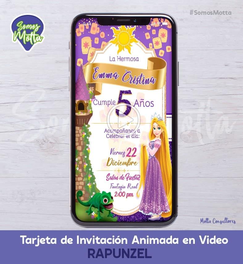 TARJETA DE INVITACIÓN DIGITAL ANIMADA PRINCESA RAPUNZEL