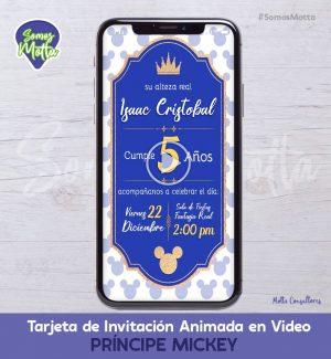 TARJETA DE INVITACIÓN ANIMADA DE PRINCIPE MICKEY