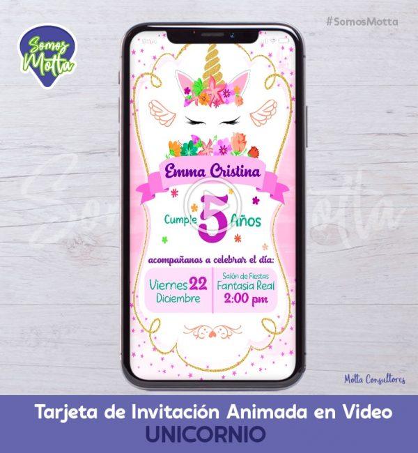TARJETA DE INVITACIÓN ANIMADA PARA WHATSAPP DE UNICORNIOS
