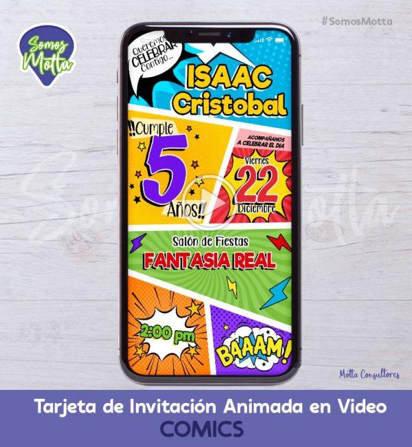 TARJETA DE INVITACIÓN ANIMADA DE COMICS
