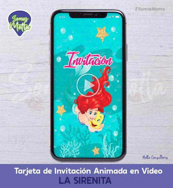 TARJETA DE INVITACIÓN DIGITAL ANIMADA DE LA SIRENITA