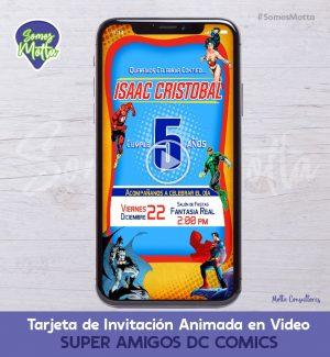 TARJETA DE INVITACIÓN DIGITAL ANIMADA DE SUPER AMIGOS HÉROES