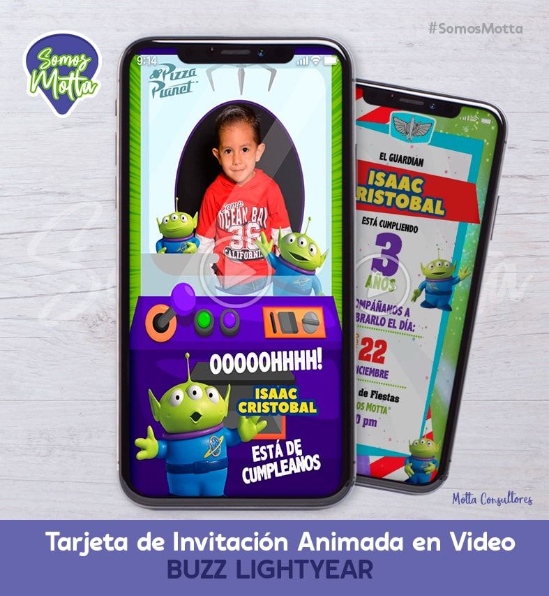 TARJETA DE INVITACIÓN DIGITAL BUZZ LIGHTYEAR CON FOTO