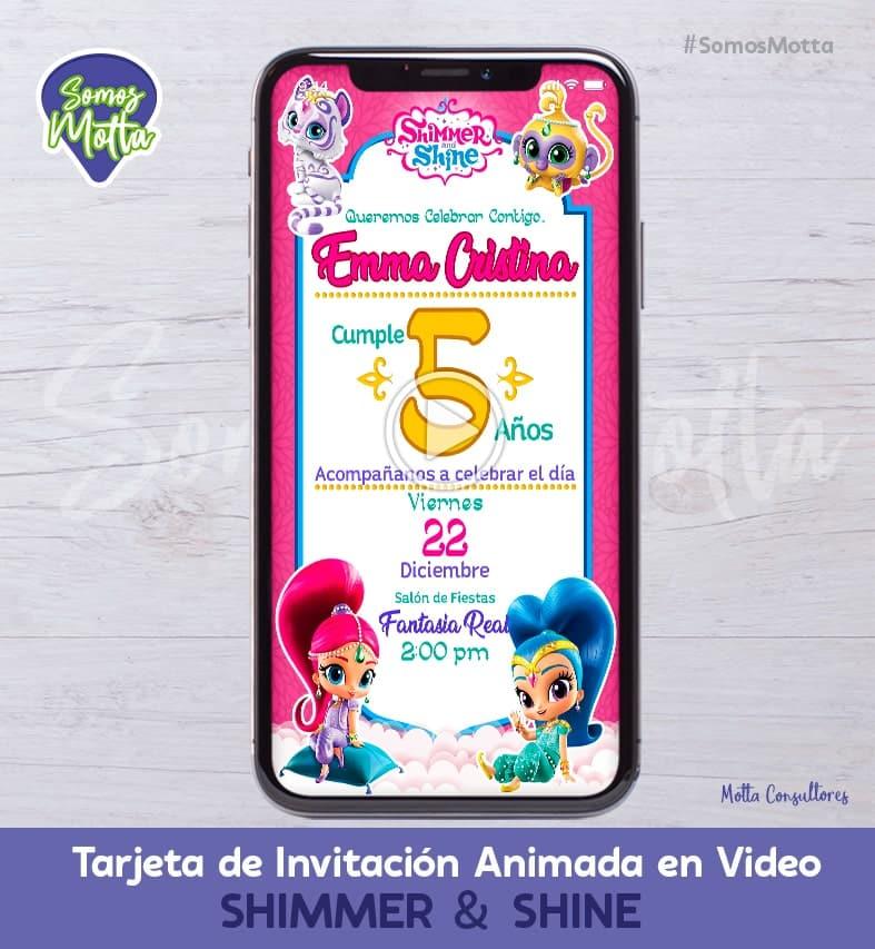 TARJETA DE INVITACIÓN DIGITAL ANIMADA DE SHIMMER & SHINE