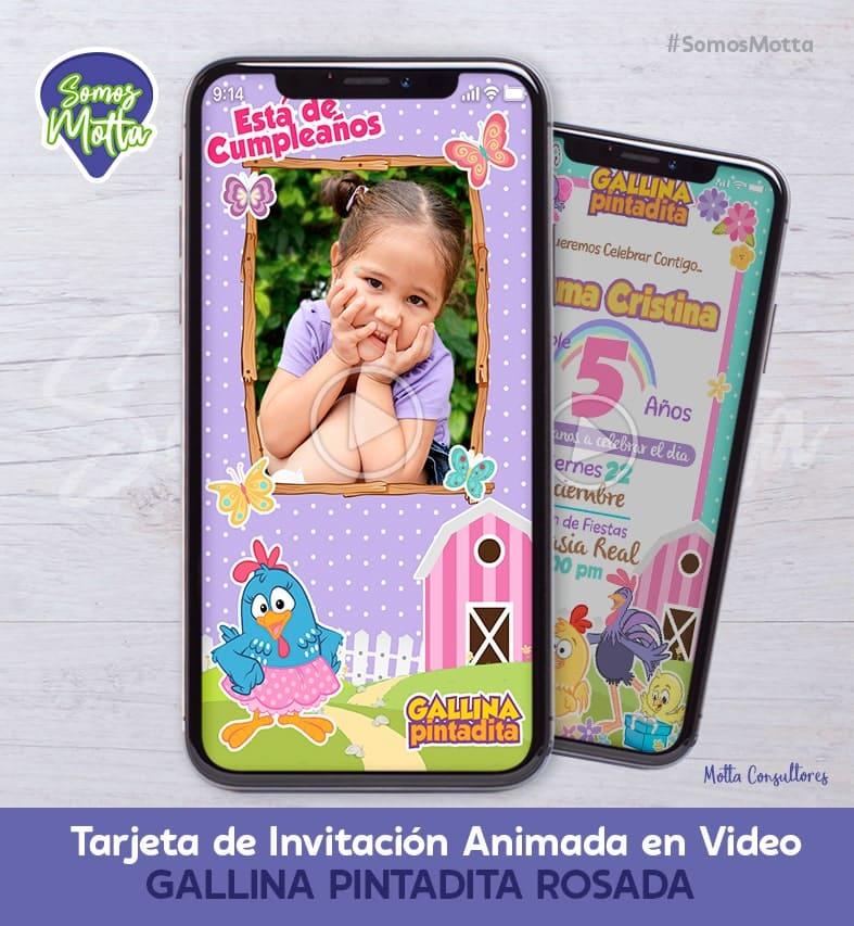 TARJETA DE INVITACIÓN GALLINA PINTADITA ROSA CON FOTO