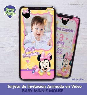TARJETA DE INVITACIÓN DIGITAL CON FOTO BABY MINNIE MOUSE