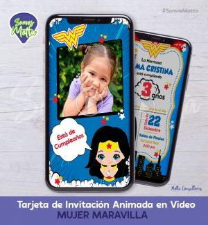 TARJETA DE INVITACIÓN DIGITAL MUJER MARAVILLA CON FOTO