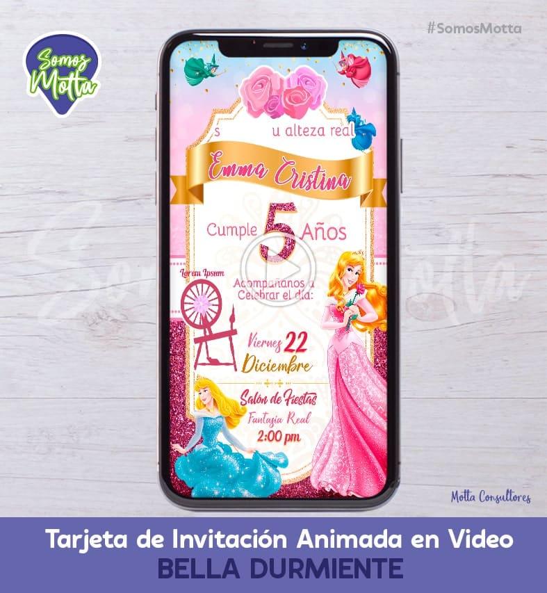 TARJETA DE INVITACIÓN DIGITAL ANIMADA DE LA BELLA DURMIENTE