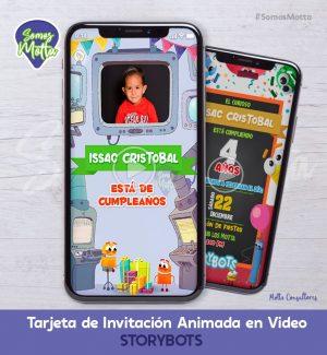 TARJETA DE INVITACIÓN DIGITAL STORYBOTS CON FOTO