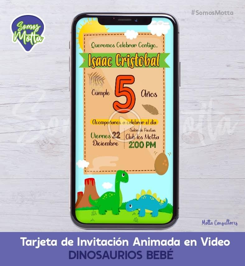 TARJETA DE INVITACIÓN DIGITAL ANIMADA DINOSAURIOS BEBE