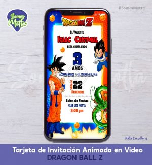 TARJETA DE INVITACIÓN DIGITAL ANIMADA DRAGÓN BALL Z