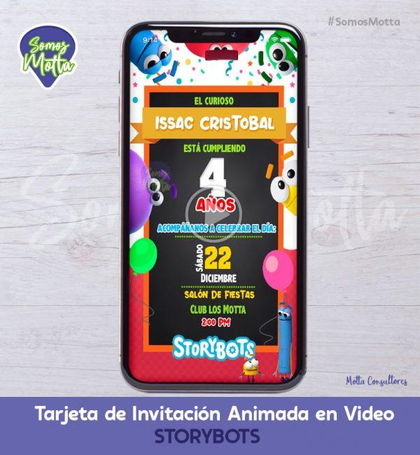 TARJETA DE INVITACIÓN DIGITAL ANIMADA STORYBOTS