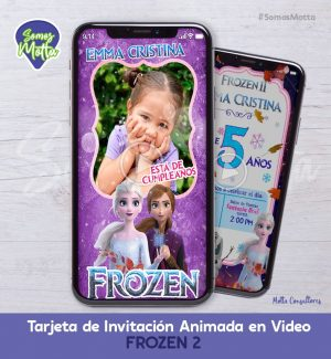 TARJETA DE INVITACIÓN DIGITAL ANIMADA FROZEN 2 CON FOTO