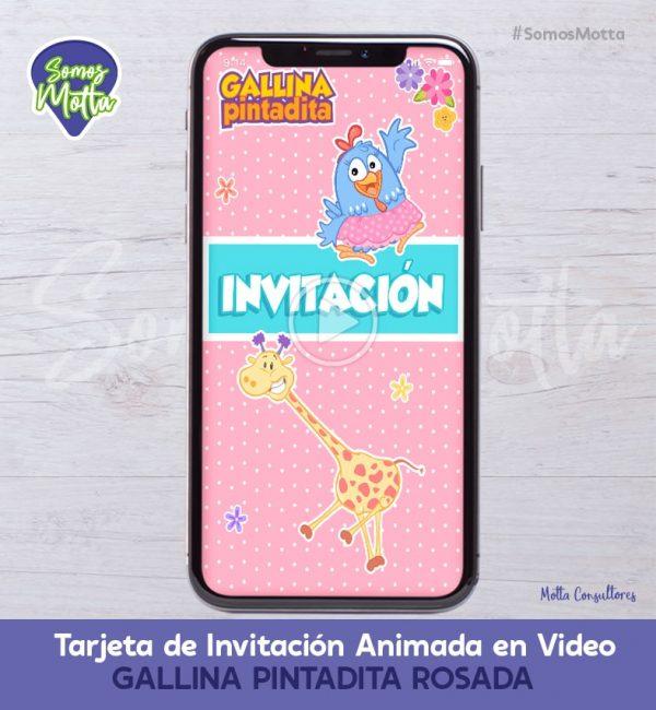 TARJETA DE INVITACIÓN DIGITAL GALLINA PINTADITA ROSA