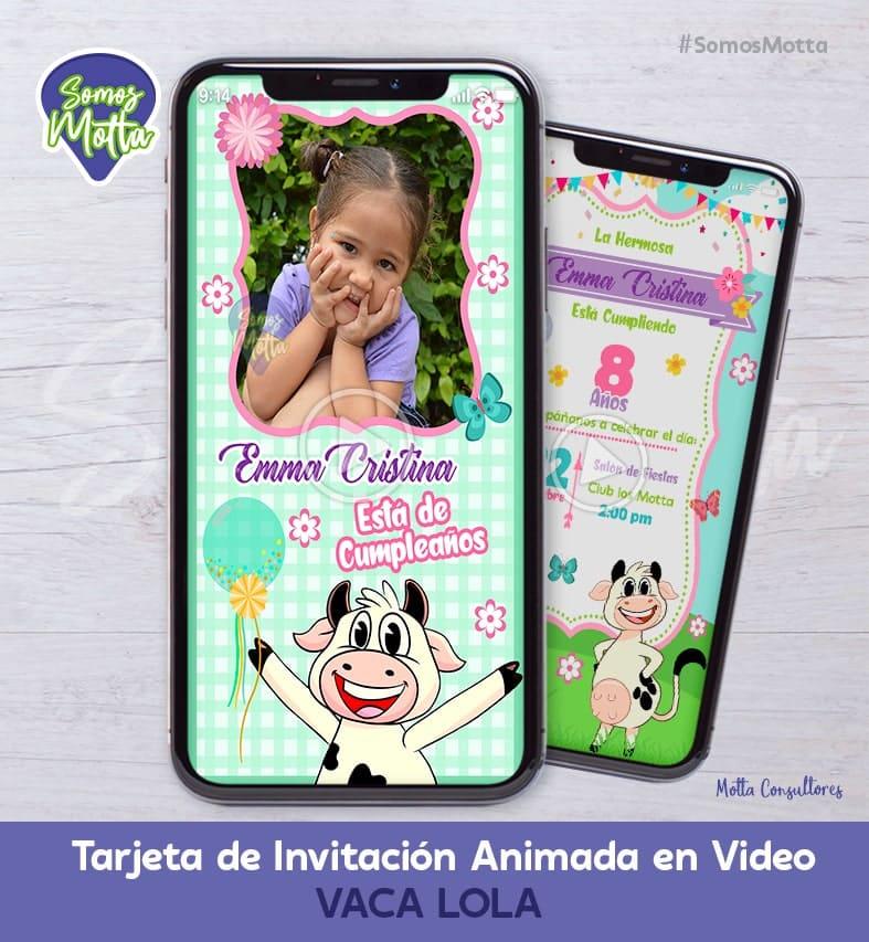 TARJETA DE INVITACIÓN DIGITAL DE LA VACA LOLA CON FOTO