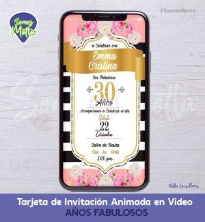 TARJETA DE INVITACIÓN DIGITAL ANIMADA MUJER 30 AÑOS FABULOSOS