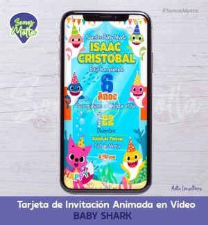 TARJETA DE INVITACIÓN DIGITAL DE BABY SHARK CON FOTO