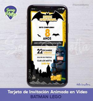 TARJETA DE INVITACIÓN DIGITAL ANIMADA DE BATMAN LEGO