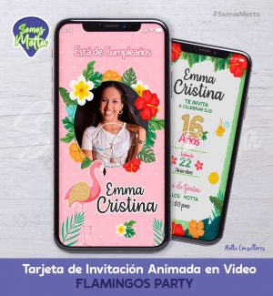 TARJETA DE INVITACIÓN DIGITAL DE FLAMINGOS PARTY CON FOTO