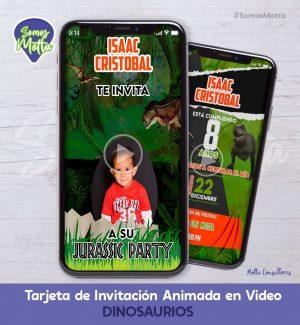 TARJETA DE INVITACIÓN DIGITAL DE DINOSAURIOS CON FOTO