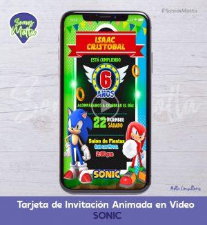 TARJETA DE INVITACIÓN DIGITAL ANIMADA DE SONIC
