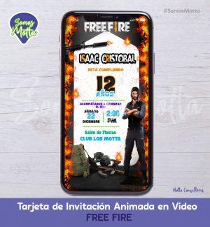 TARJETA DE INVITACIÓN DIGITAL ANIMADA DE FREE FIRE