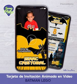 TARJETA DE INVITACIÓN DIGITAL DE BATMAN LEGO CON FOTO