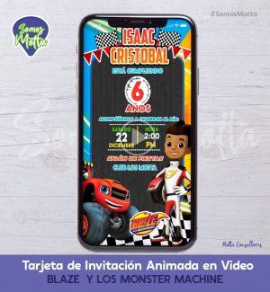 Tarjeta de Invitación Digital Animada BLAZE Y LOS MONSTER MACHINE