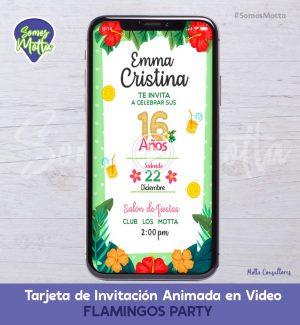 TARJETA DE INVITACIÓN DIGITAL ANIMADA DE FLAMENCOS VERANO