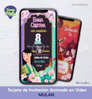 TARJETA DE INVITACIÓN DIGITAL MULAN DISNEY
