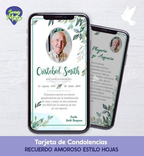 TARJETA DE CONDOLENCIAS Y AGRADECIMIENTO