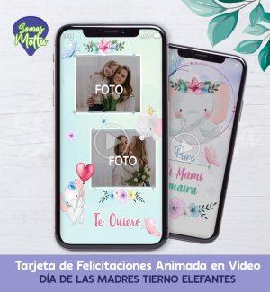 TARJETA DÍA DE LA MADRE DIGITAL ANIMADA CON ELEFANTES