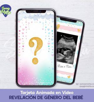 TARJETA DE REVELACIÓN DE GÉNERO DEL BEBÉ