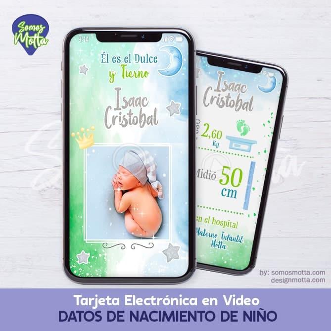 TARJETA CON DATOS DE NACIMIENTO DE RECIÉN NACIDO VARÓN