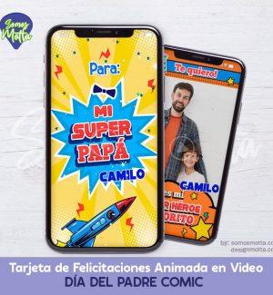 TARJETA DIGITAL FELICITACIONES DÍA DEL PADRE COMIC