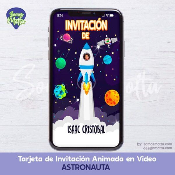 TARJETA DIGITAL DE INVITACIÓN DE ASTRONAUTA