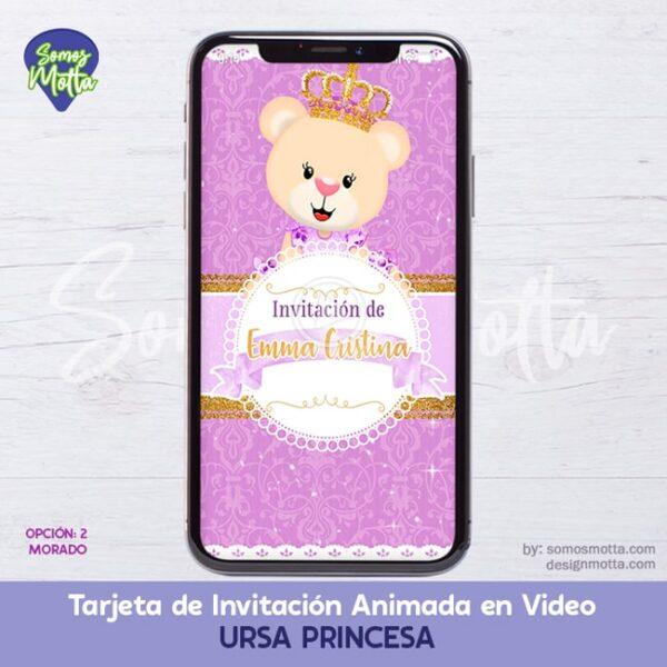 TARJETA DIGITAL DE INVITACIÓN OSITA URSA PRINCESA