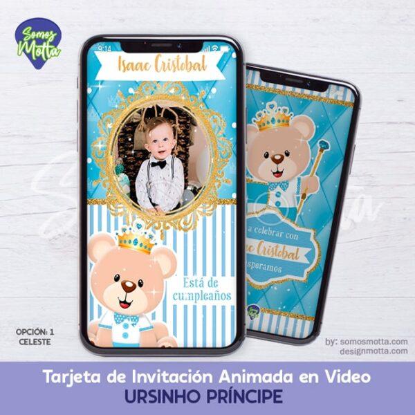 TARJETA DIGITAL DE INVITACIÓN OSOS URSINHO PRÍNCIPE